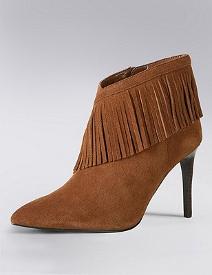 Stain Away™ Suede Fringe Trim Ankle Boots with Insolia®, TAN, catlanding