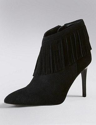 Stain Away™ Suede Fringe Trim Ankle Boots with Insolia®, BLACK, catlanding