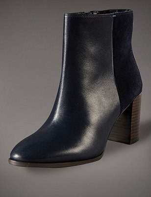 Leather Panelled Ankle Boots with Insolia®, NAVY MIX, catlanding