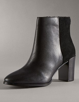 Leather Panelled Ankle Boots with Insolia®, BLACK MIX, catlanding