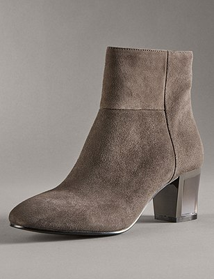Stain Away™ Suede Perspex Heel Ankle Boots with Insolia®, DARK GREY, catlanding
