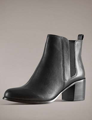 Leather Chelsea Ankle Boots with Insolia®, BLACK, catlanding