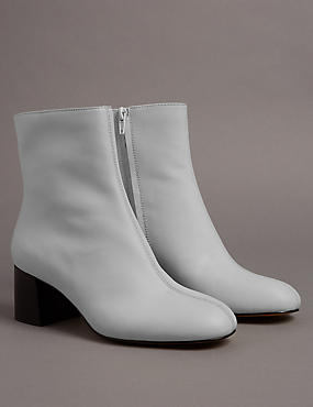 Mid Heel Ankle Boots with Insolia®, WHITE, catlanding
