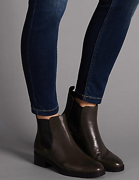 Leather Block Heel Chelsea Ankle Boots, OLIVE, catlanding