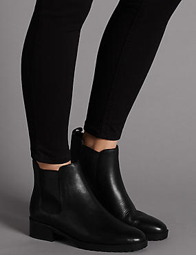 Leather Block Heel Chelsea Ankle Boots, BLACK, catlanding