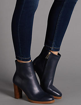 Leather Block Heel Ankle Boot with Insolia®, NAVY, catlanding