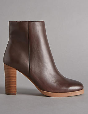 Leather Block Heel Ankle Boot with Insolia®, COCOA, catlanding