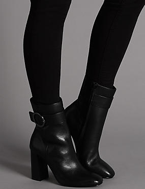 Leather High Ring Ankle Boots with Insolia®, BLACK, catlanding
