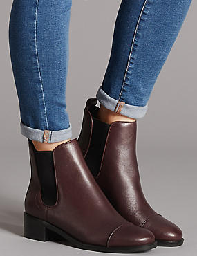 Leather Block Heel Chelsea Ankle Boots, OXBLOOD, catlanding