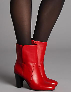 Leather Block Heel Ankle Boots, RED, catlanding