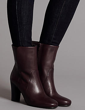 Leather Block Heel Ankle Boots, OXBLOOD, catlanding