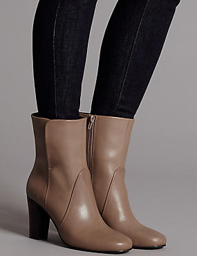Leather Block Heel Ankle Boots, CARAMEL, catlanding