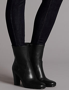 Leather Block Heel Ankle Boots, BLACK, catlanding