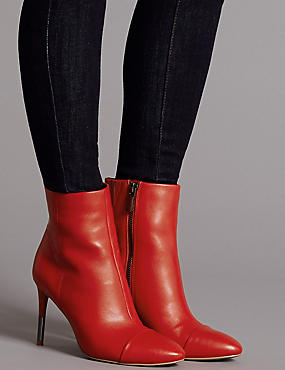 Leather Stiletto Heel Toe Cap Ankle Boots, RED, catlanding
