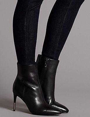 Leather Stiletto Heel Toe Cap Ankle Boots, BLACK, catlanding