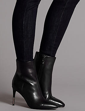 Leather Stiletto Heel Toe Cap Ankle Boots, BLACK, catlanding