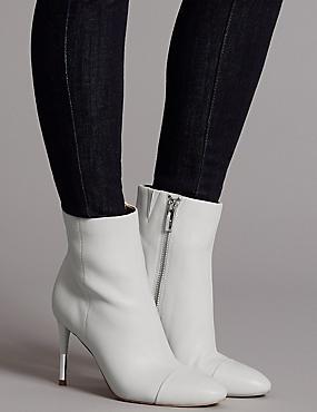 Leather Stiletto Heel Toe Cap Ankle Boots, WHITE, catlanding