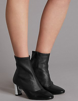 Leather Side Zip Stretch Feature Ankle Boots, BLACK, catlanding
