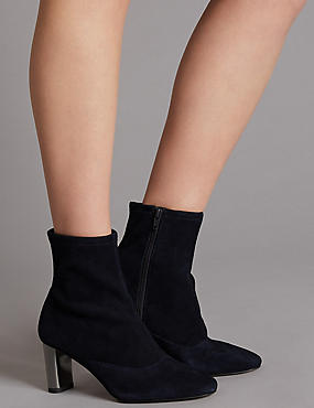 Leather Side Zip Stretch Feature Ankle Boots, INK, catlanding