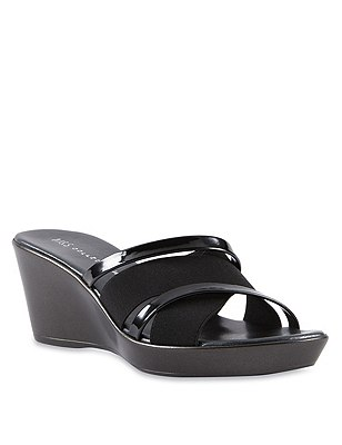 Open Toe Elastic Strap Wedge Sandals, BLACK, catlanding