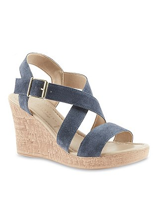 Stain Away™ Suede Crossover Wedge Sandals, NAVY, catlanding