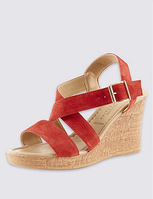 Stain Away™ Suede Crossover Wedge Sandals, FLAME, catlanding