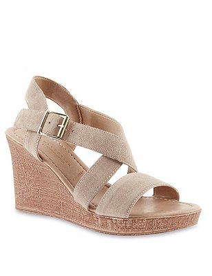 Stain Away™ Suede Crossover Wedge Sandals, MINK, catlanding