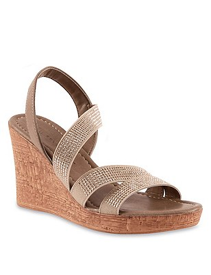 Studded Strap Wedge Sandals, NUDE, catlanding