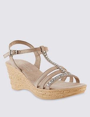 Stain Away™ Suede Sparkle Gem Embellished Strap Wedge Sandals, MINK, catlanding