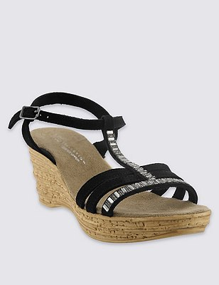 Stain Away™ Suede Sparkle Gem Embellished Strap Wedge Sandals, BLACK, catlanding