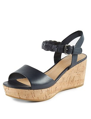 Leather Plaited Ankle Strap Wedge Sandals with Insolia®, NAVY, catlanding