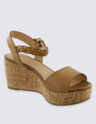 Leather Plaited Ankle Strap Wedge Sandals with Insolia®, TAN, catlanding