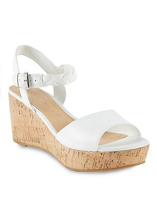 Leather Plaited Ankle Strap Wedge Sandals with Insolia®, WHITE, catlanding