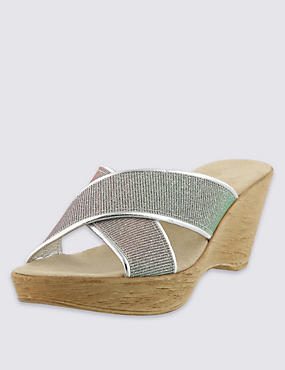 Open Toe Sparkle Crossover Wedge Mule Sandals