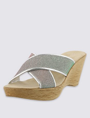 Open Toe Sparkle Crossover Wedge Mule Sandals, SILVER MIX, catlanding