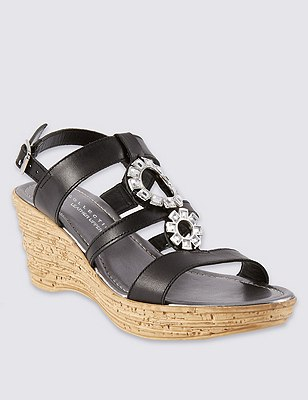 Leather Circle Trim Wedge Sandals, BLACK, catlanding