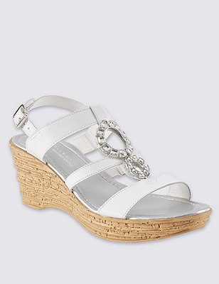 Leather Circle Trim Wedge Sandals, WHITE, catlanding