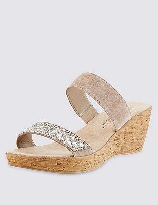 Stain Away™ Suede Embellished Strap Wedge Sandals, MINK, catlanding