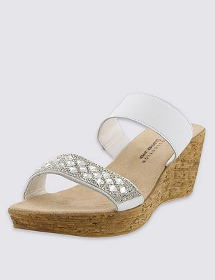Leather Embellished Strap Wedge Sandals, WHITE, catlanding