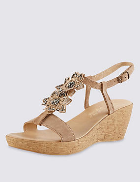 Stain Away™ Suede Sparkle Floral Wedge Sandals with Insolia®