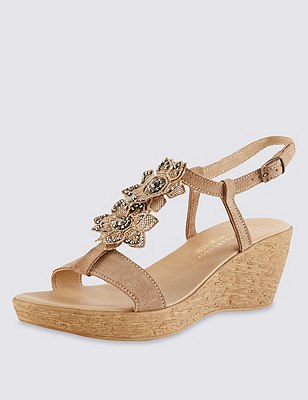 Stain Away™  Suede Sparkle Floral Wedge Sandals with Insolia®, MINK, catlanding