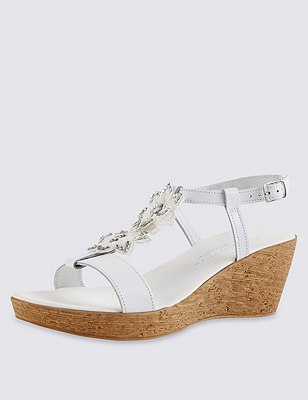 Leather Sparkle Floral Appliqué Wedge Sandals with Insolia®, WHITE, catlanding