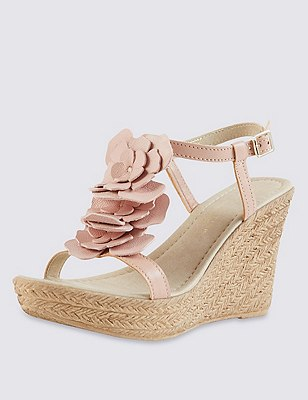 Leather Floral Corsage Trim Wedge Sandals with Insolia®, LIGHT PINK, catlanding