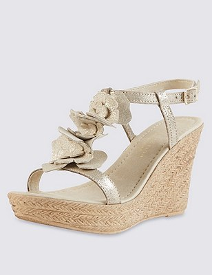 Leather Floral Corsage Trim Wedge Sandals with Insolia®, GOLD, catlanding