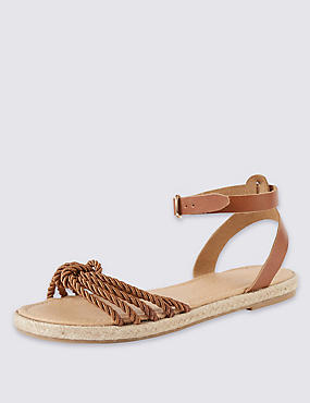 Leather Rope Sandals with Insolia Flex®, TAN, catlanding