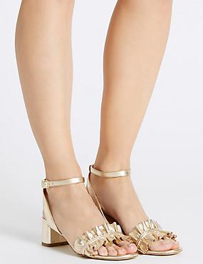 Leather Block Heel Ruffle Sandals, GOLD, catlanding