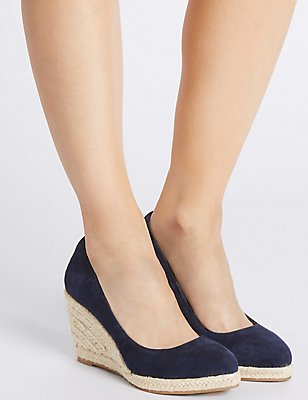 Leather Wedge Heel Almond Toe Espadrilles , NAVY, catlanding