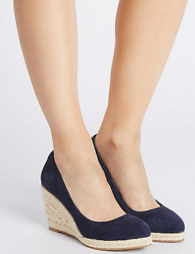 Leather Wedge Heel Almond Toe Espadrilles, NAVY, catlanding