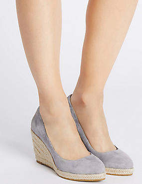Leather Wedge Heel Almond Toe Espadrilles, GREY, catlanding