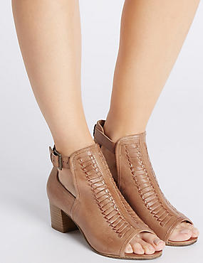 Leather Block Heel Peep Shoe Boots, TAN, catlanding
